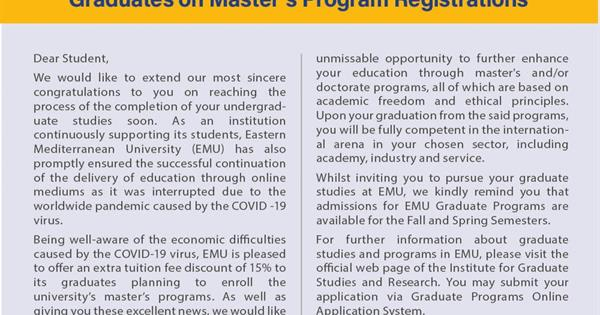 Eastern Mediterranean University Offers Extra Tuition Fee Discount of 15% to its Graduates on Master